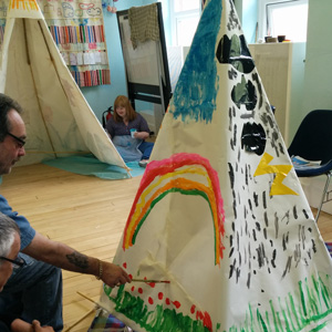 Photo: Back at DIY Theatre – Trails & Teepees